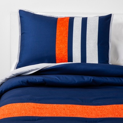 2pc twin athletic striped microfiber comforter set navy pillowfort