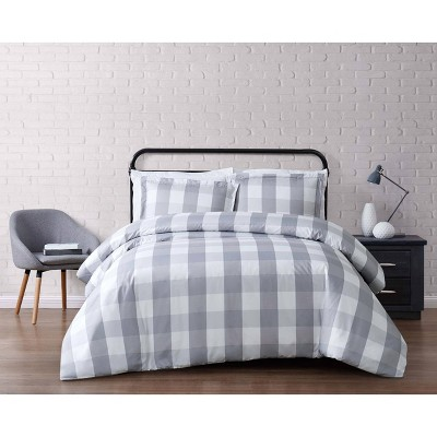truly soft everyday twin extra long buffalo plaid duvet cover set gray white
