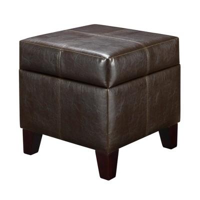 small cube faux leather storage ottoman espresso dorel living
