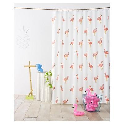 flamingo shower curtain ivory pillowfort