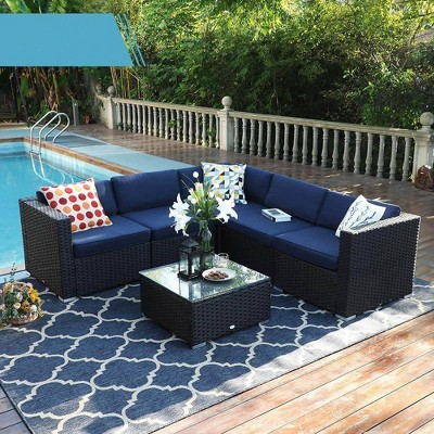 6pc outdoor rattan wicker sectional sofa with ottoman blue captiva designs