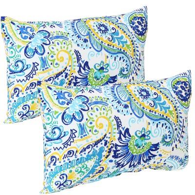 decorative indoor outdoor lumbar pillow covers set of 2 aqua paisley sunnydaze decor