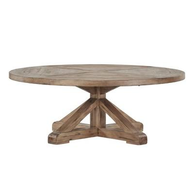 sierra round farmhouse pedestal base wood cocktail table vintage wood inspire q