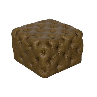 small square all over tufted ottoman light brown homepop