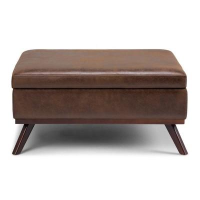 36 ethan coffee table storage ottoman chestnut brown wyndenhall