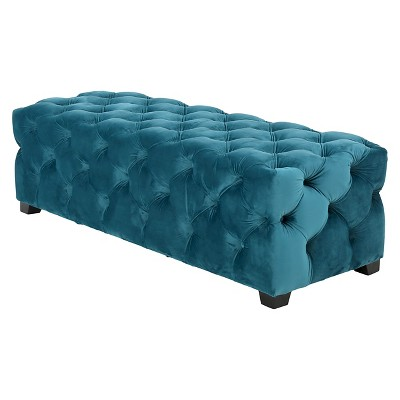 piper tufted velvet fabric rectangle ottoman bench dark teal christopher knight home