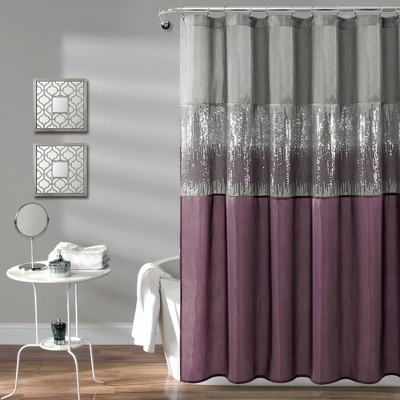 night sky shower curtain gray purple lush decor