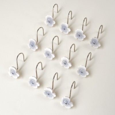 lakeside set of 12 floral shower curtain hooks grey and white cherry blossom flower