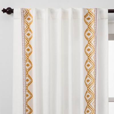 108 x50 global border curtain panel white yellow opalhouse