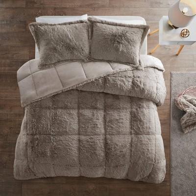 leena king california king 3pc shaggy faux fur comforter set gray