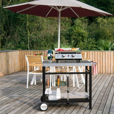 34 x 20 double shelf movable patio console table with handle outdoor kitchen prep trolley with storage royal gourmet