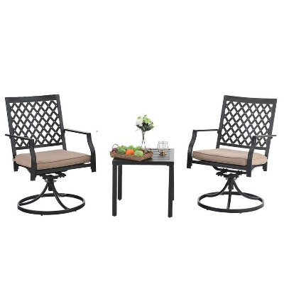 3pc metal patio set with swivel chairs coffee table black captiva designs