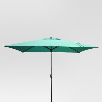 10 x 6 rectangular patio umbrella duraseason fabric turquoise black pole threshold