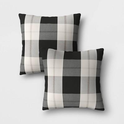 2pk woven plaid outdoor throw pillows duraseason fabric black threshold