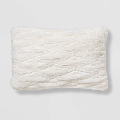 oblong ruched faux fur throw pillow cream threshold