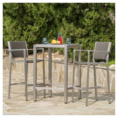 cape coral 3pc all weather wicker metal patio bar set gray christopher knight home