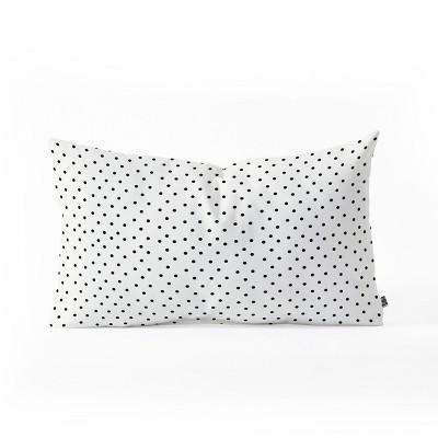 allyson johnson tiny polka dots lumbar throw pillow white black deny designs