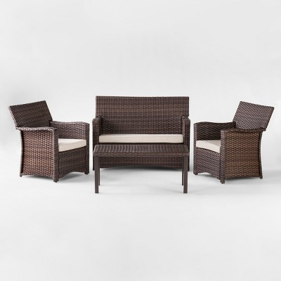 halsted 4pc all weather wicker patio conversation set tan threshold