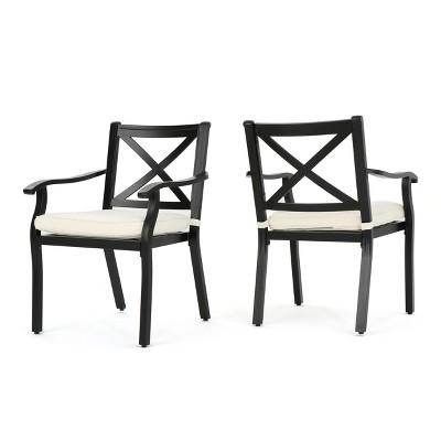 exuma 2pk cast aluminum dining chairs black christopher knight home