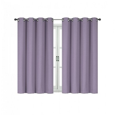 kate aurora 100 hotel thermal blackout lavender grommet top curtain panels 50 in w x 63 in l lavender