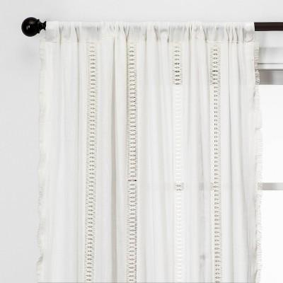 63 x42 lace trim light filtering window curtain panel sour cream opalhouse