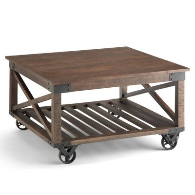 32 barrie square coffee table distressed dark brown wyndenhall