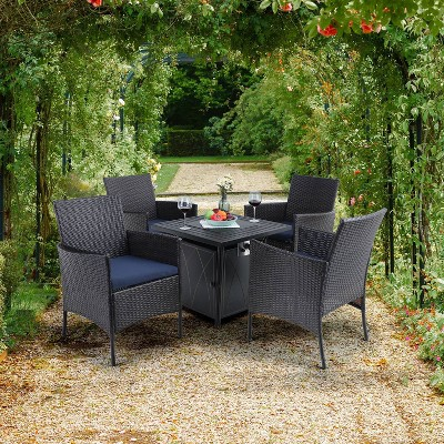 5pc patio set with wicker chairs 28 propane gas fire pit table captiva designs