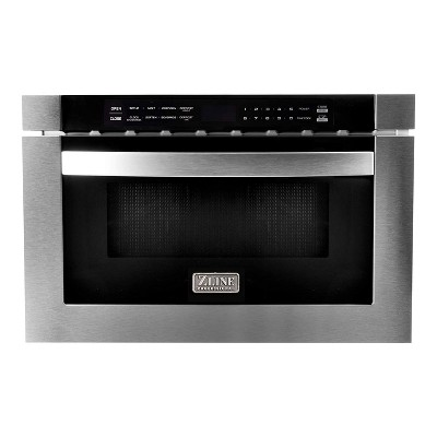 zline 24 inch 1 cubic feet 1000 watt digital touchscreen microwave drawer with 11 power levels for kitchen island pantry cabinet stainless steel