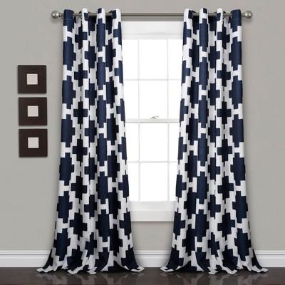 84 x52 wellow ikat room darkening window curtain panels navy lush decor
