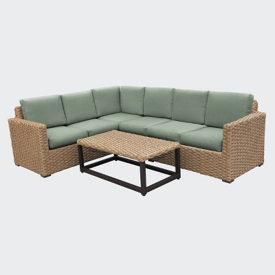 avalon 5pc outdoor sectional with sunbrella sage leisure made