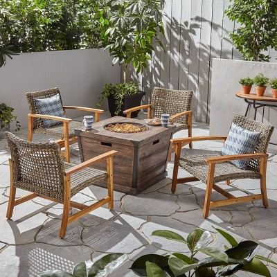 5pc hampton wood and wicker patio club chair set with fire pit brown christopher knight home
