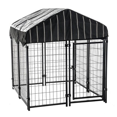 lucky dog 60548 4ft x 4ft x 4 5ft uptown welded wire outdoor dog kennel playpen crate with heavy duty uv resistant waterproof cover black