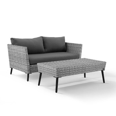 2pc richland outdoor patio loveseat and coffee table set gray crosley