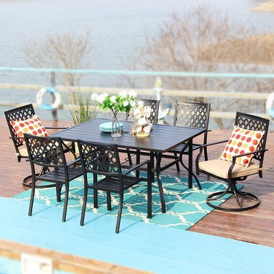 7pc outdoor dining set with 37 table swivel arm chairs captiva designs