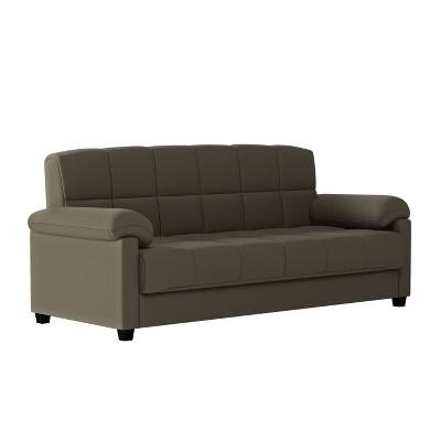 maurice microfiber pillow top arm convert a couch futon sofa sleeper soft sage handy living