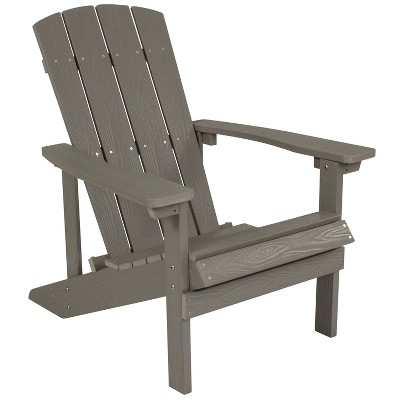 flash furniture charlestown all weather poly resin wood adirondack chair in gray