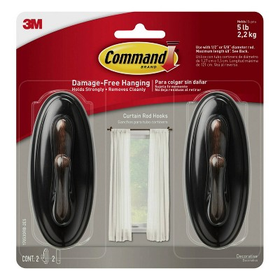 command 2pc curtain rod hooks oil rubbed bronze
