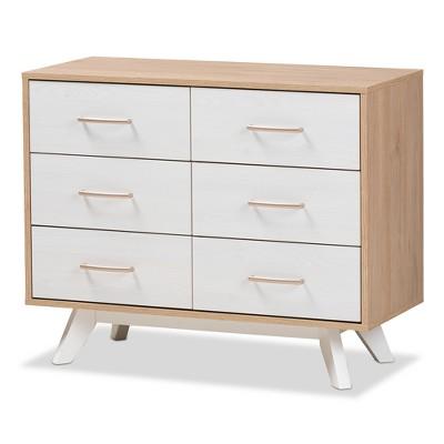 helena mid century modern natural oak and whitewashed finished wood 6 drawer dresser white baxton studio