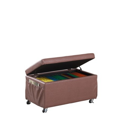 ore international storage bench with caster wheels side pockets brown
