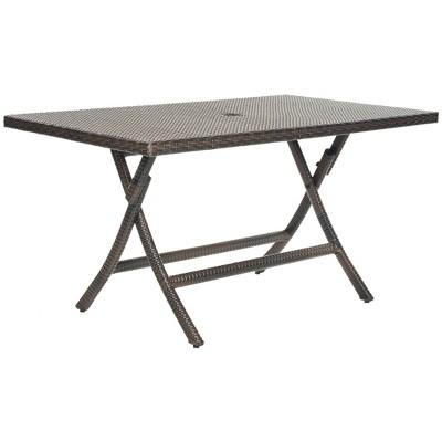 asinara rectangle wicker folding patio dining table brown safavieh
