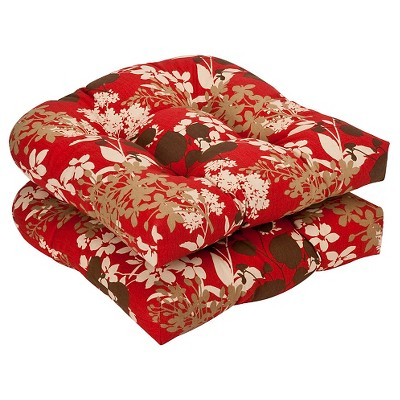 outdoor 2 piece chair cushion set brown red floral