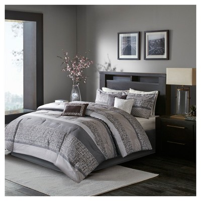 queen 7pc harmony jacquard comforter set gray taupe