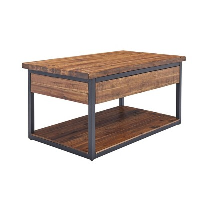 claremont rustic wood coffee table with low shelf dark brown alaterre furniture