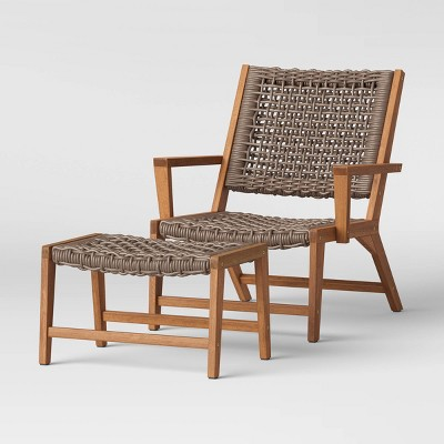 lena wood rope patio chair with ottoman gray project 62