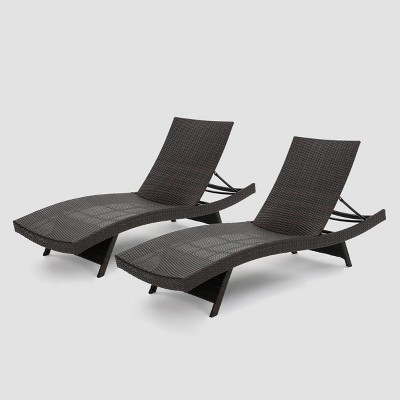 salem 2pk wicker adjustable chaise lounge chair brown christopher knight home