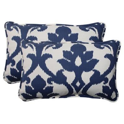 outdoor 2 piece lumbar toss pillow set blue white damask