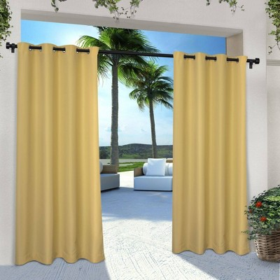 set of 2 84 x54 solid cabana grommet top light filtering curtain panel yellow exclusive home