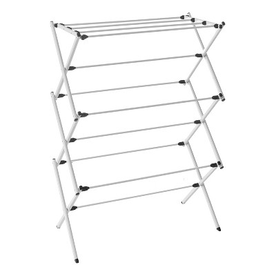 homz collapsible 10 rod metal drying rack and clothes hanging rack for college dorm bathroom laundry room apartment and studio silver