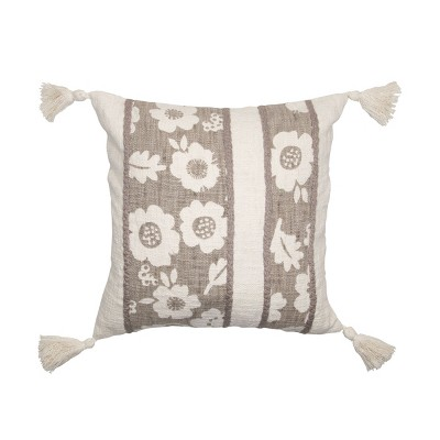 taupe and white floral print hand woven 18 x 18 inch decorative cotton throw pillow cover with insert and hand tied tassels foreside home garden