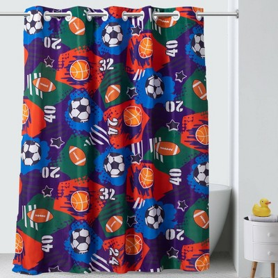 71 x74 sports collage shower curtain with peva liner hookless